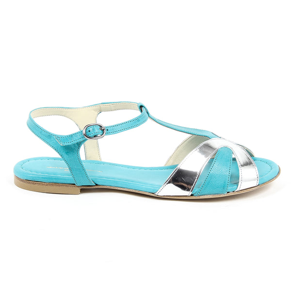 V 1969 Italia Womens Flat Sandal Light Blue GRAZIA