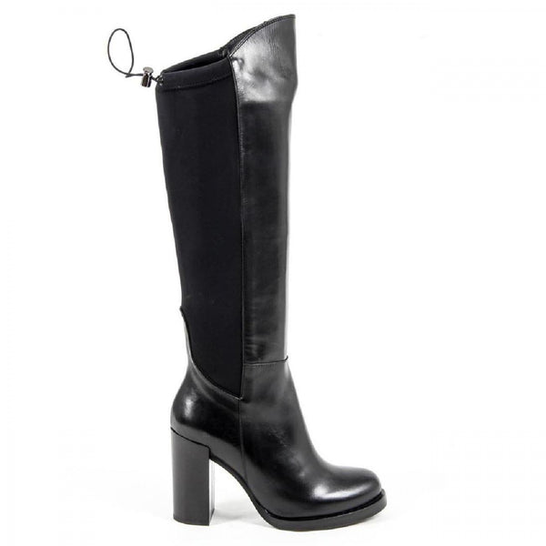 V 1969 Italia Womens High Boot B2406 VITELLO NERO LICRA NERO