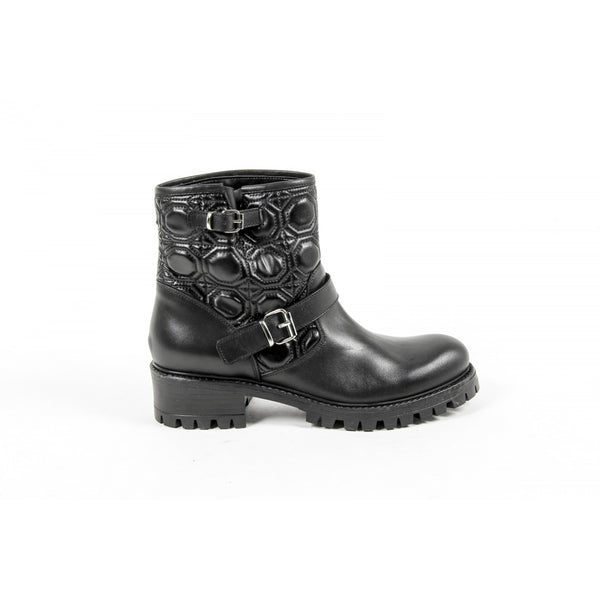 V 1969 Italia Womens Short Boot B1441 VITELLO NERO TRAPUNTA NERO