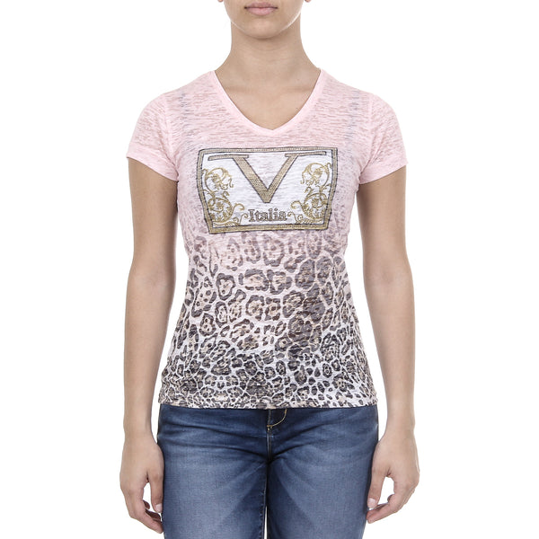 V 1969 Italia Womens T-shirt Short Sleeves V-Neck Pink EVELYN