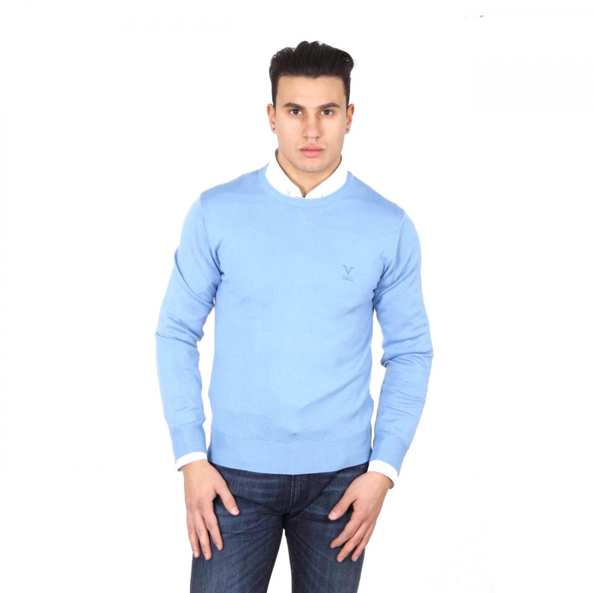 V 1969 Italia mens round neck sweater 9800 GIROCOLLO AZZURRO