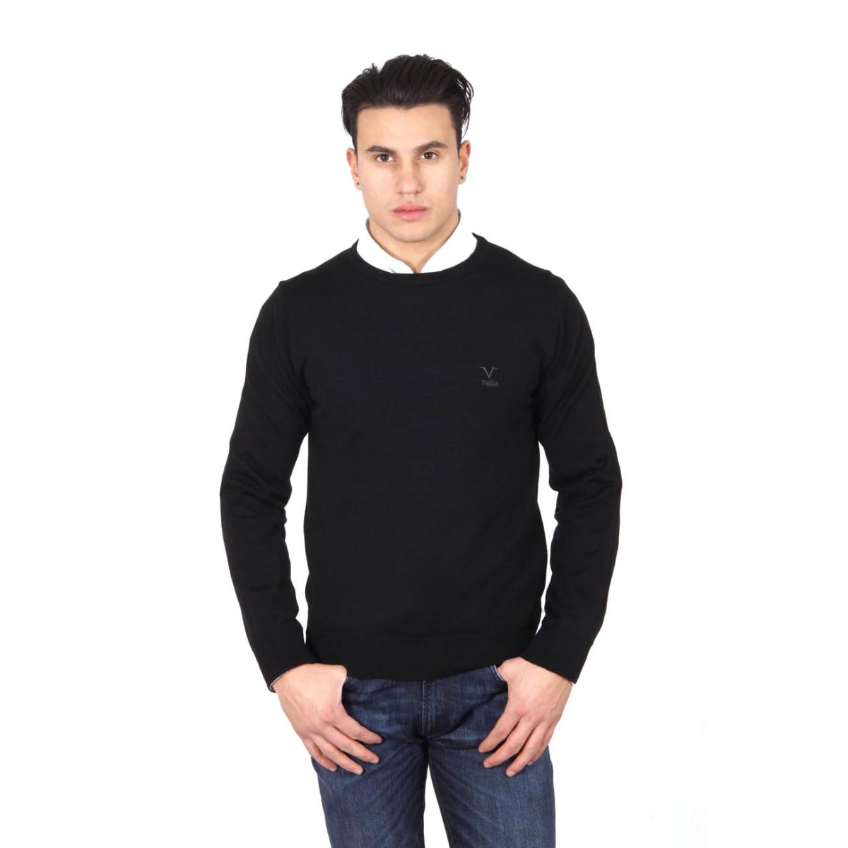 V 1969 Italia mens round neck sweater 9800 GIROCOLLO NERO