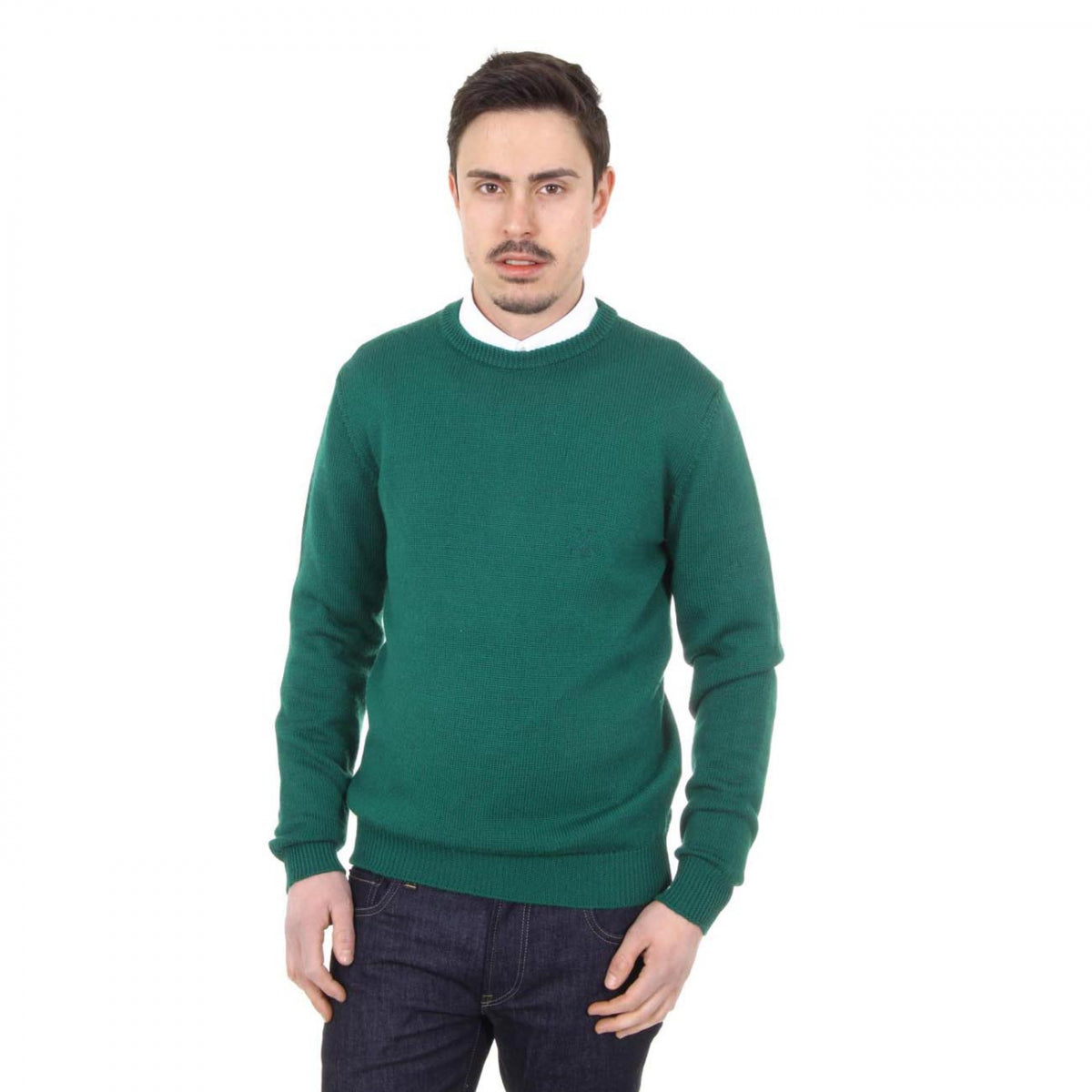 V 1969 Italia mens round neck sweater 9802 GIROCOLLO VERDONE