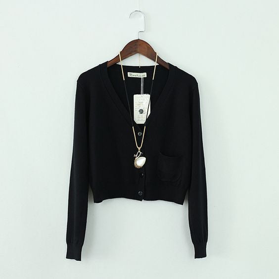 Black Pinup Crop Cardigan
