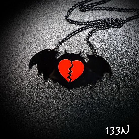 Broken Heart Bat Necklace