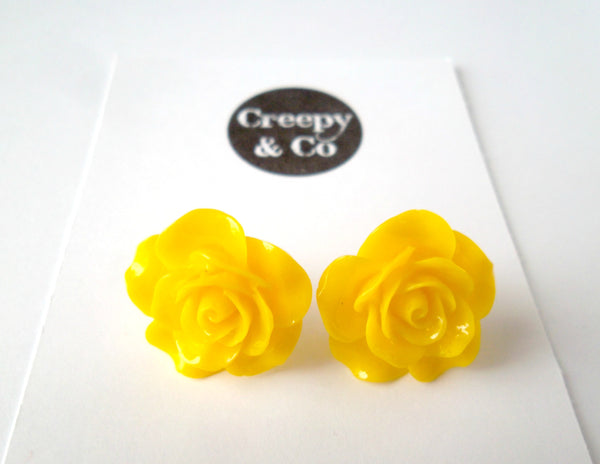 Bright Yellow Rose Stud Earrings
