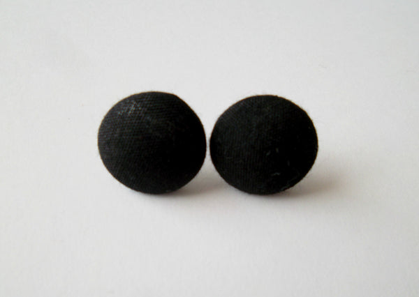 Black Fabric Button Stud Earrings