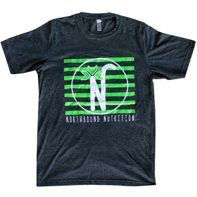 Men's Green Striped Dark Gray Logo Tee