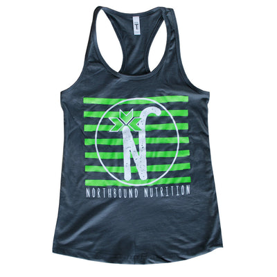 Women's Gray Striped Logo Racerback Tank