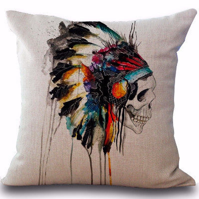 Indian Skull Pillow | Unique Throw Pillows | Witty Novelty