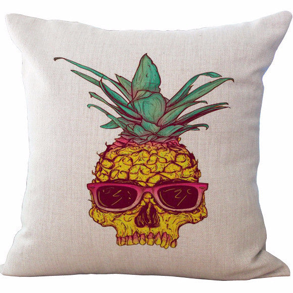 Pineapple Skull Pillow | Unique Throw Pillows | Witty Novelty