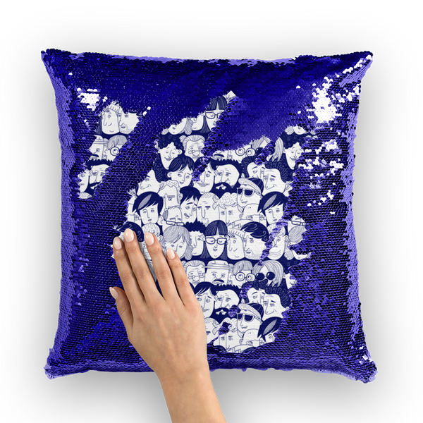 Heads of People Hand Drawing Sequin Cushion Cover | Homeware | Witty Novelty