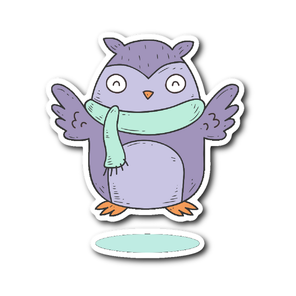 Cute Animals in Winter Clothes - Owl Sticker | Stickers | Witty Novelty