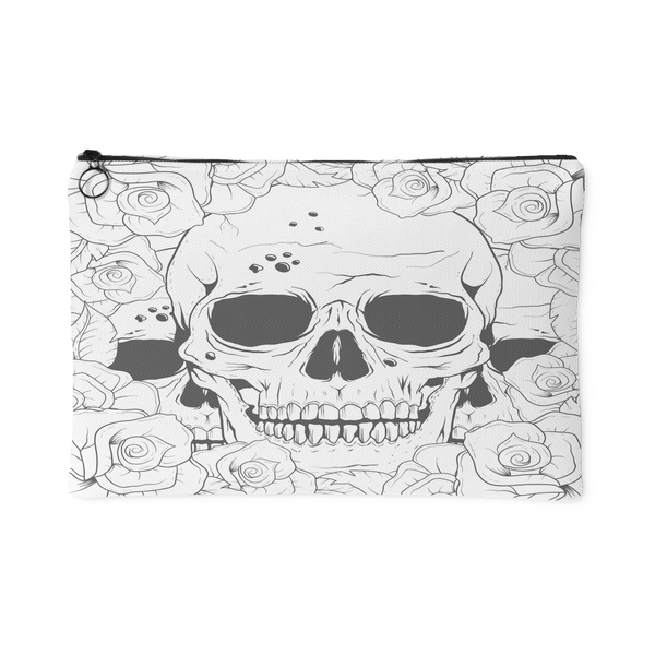 Color Yourself Series - Hidden Skulls in a Rose Bush Accessory Pouch | Accessory Pouches | Witty Novelty