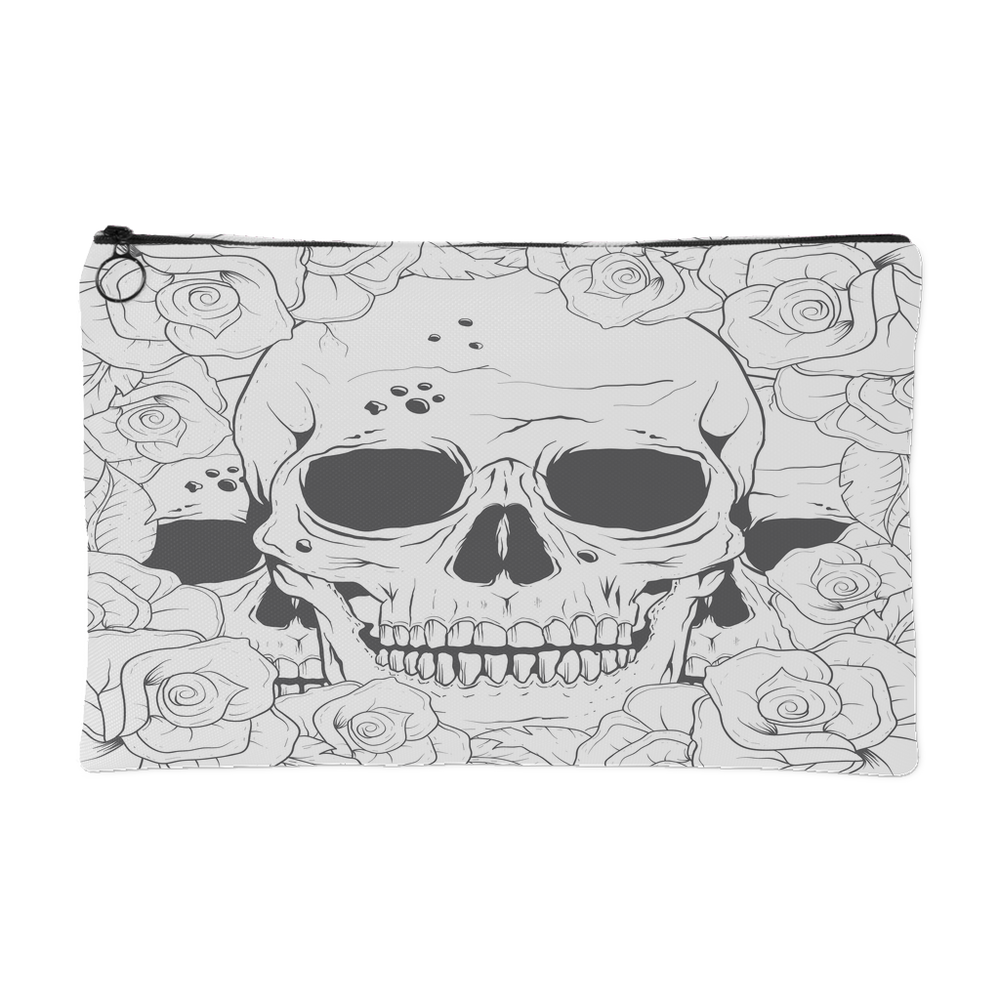 Color Yourself Series - Hidden Skulls in a Rose Bush Accessory Pouch
