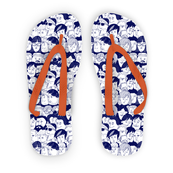 Heads of People Hand Drawing Adult Flip Flops | Accessories | Witty Novelty