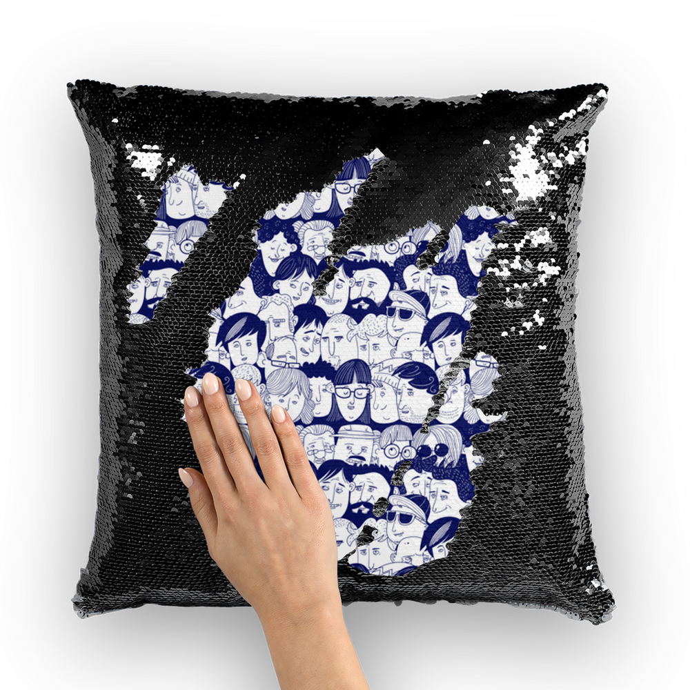 Heads of People Hand Drawing Sequin Cushion Cover