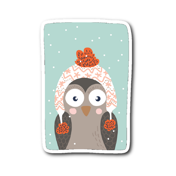 Adorable Animals in Winter Clothes - Owl Sticker | Stickers | Witty Novelty