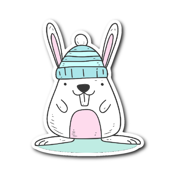 Cute Animals in Winter Clothes - Rabbit in a Beanie Sticker | Stickers | Witty Novelty
