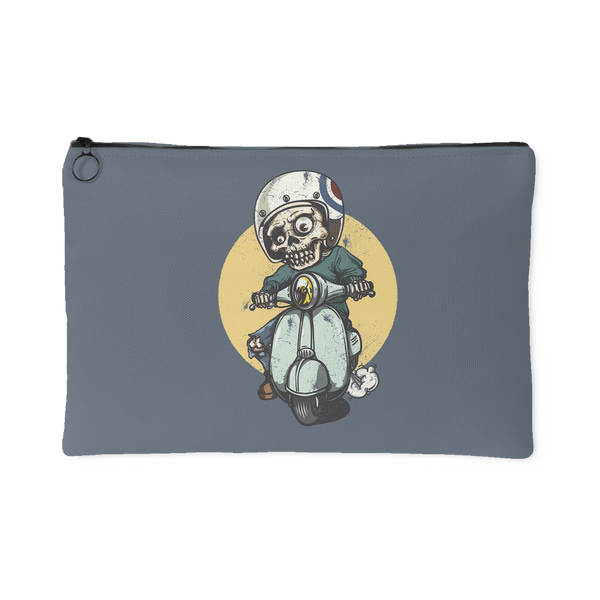 Young Skeleton Rides a Scooter Accessory Pouch | Accessory Pouches | Witty Novelty