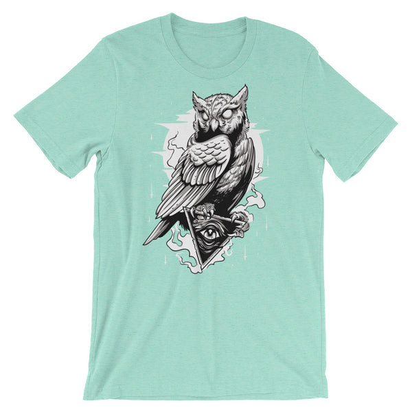Owl and All Seeing Eye Short-Sleeve Unisex T-Shirt |  | Witty Novelty