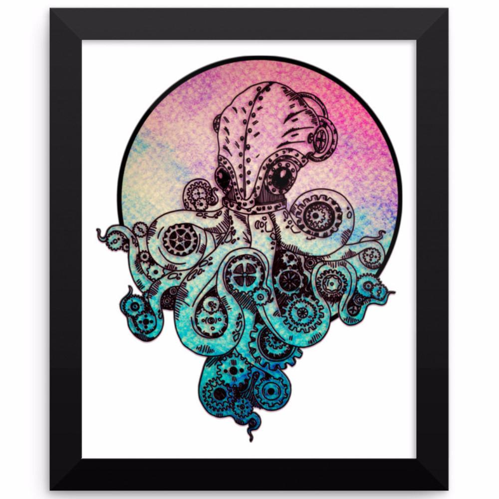 Steampunk Octopus Framed Poster