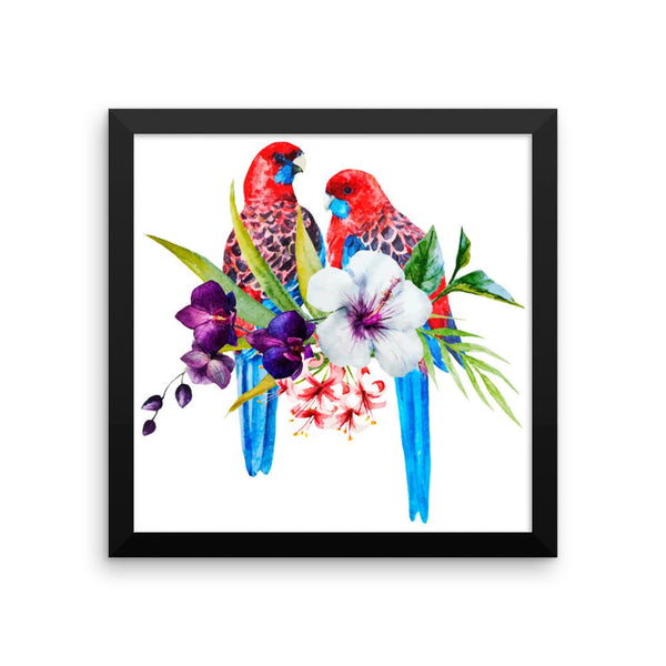 Parrots & Flowers Framed Poster | Wall Art | Witty Novelty