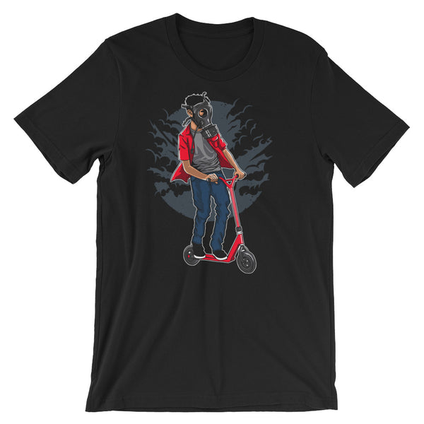 Gasmask Scooter Rider Short-Sleeve Unisex T-Shirt |  | Witty Novelty