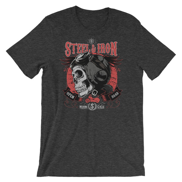 Steel and Iron Open Road Motorcycle Short-Sleeve Unisex T-Shirt |  | Witty Novelty