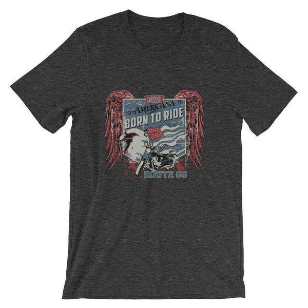 Americana Born To Ride Road 66 Short-Sleeve Unisex T-Shirt |  | Witty Novelty