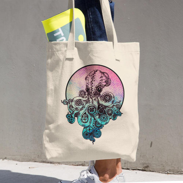 Steampunk Octopus Cotton Tote Bag | Unique Bags & Unisex Gifts | Witty Novelty