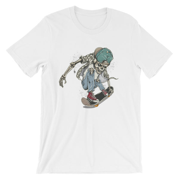 Skater Skeleton Short-Sleeve Unisex T-Shirt |  | Witty Novelty