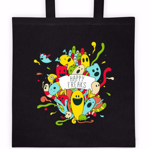 Happy Freaks Cotton Canvas Tote Bag | Unique Bags & Unisex Gifts | Witty Novelty