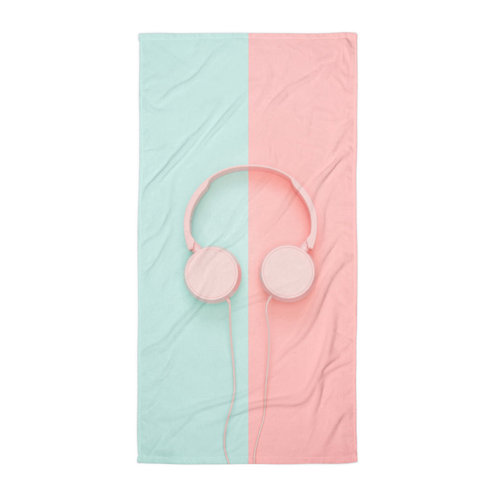 Pastel Headphones Beach Towel