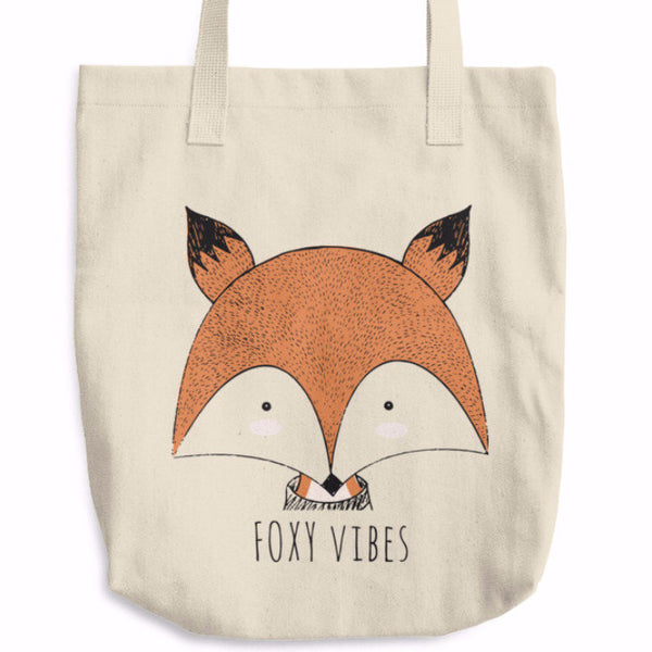 Foxy Vibes Cotton Tote Bag | Unique Bags & Unisex Gifts | Witty Novelty