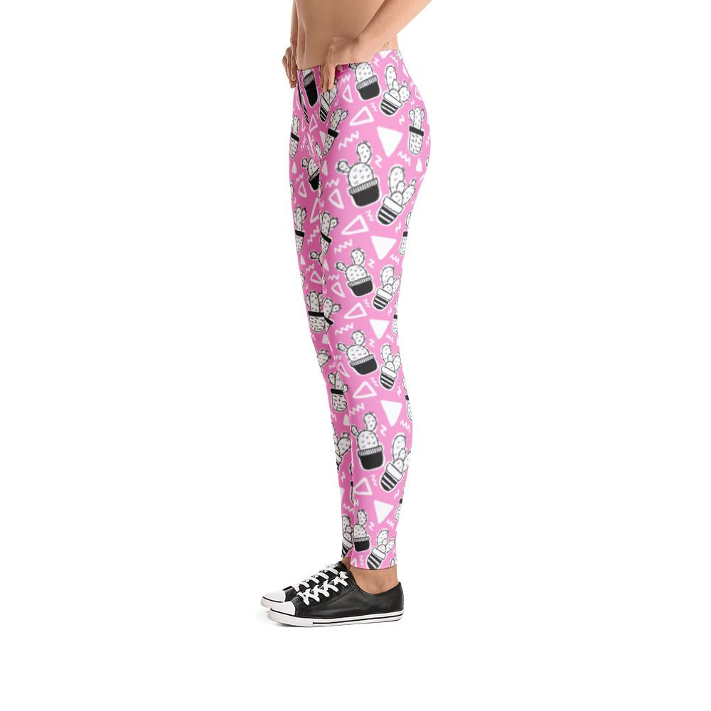 Pink Doodle Cactus Pattern Leggings |  | Witty Novelty