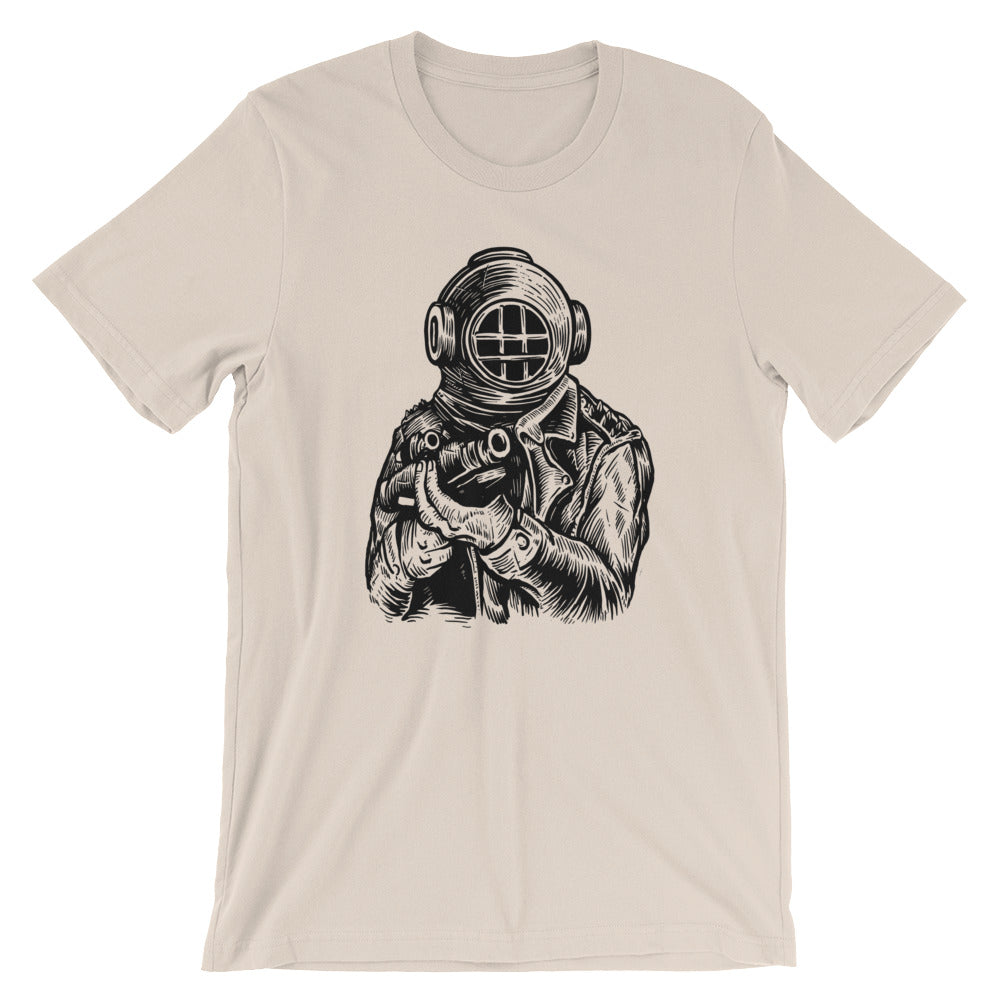 Old School Deep Sea Diver Soldier Short-Sleeve Unisex T-Shirt |  | Witty Novelty