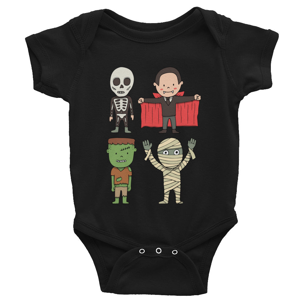 Cute Halloween Monsters Baby Rib Bodysuit