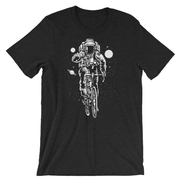 Cyclist Astronaut Riding Through Space Short-Sleeve Unisex T-Shirt |  | Witty Novelty