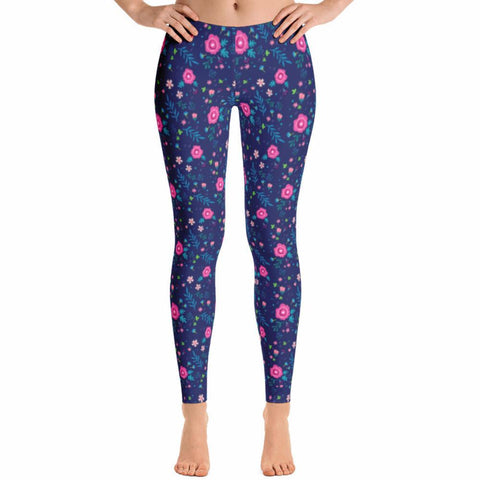 Pink Flowers Leggings | Leggings | Witty Novelty