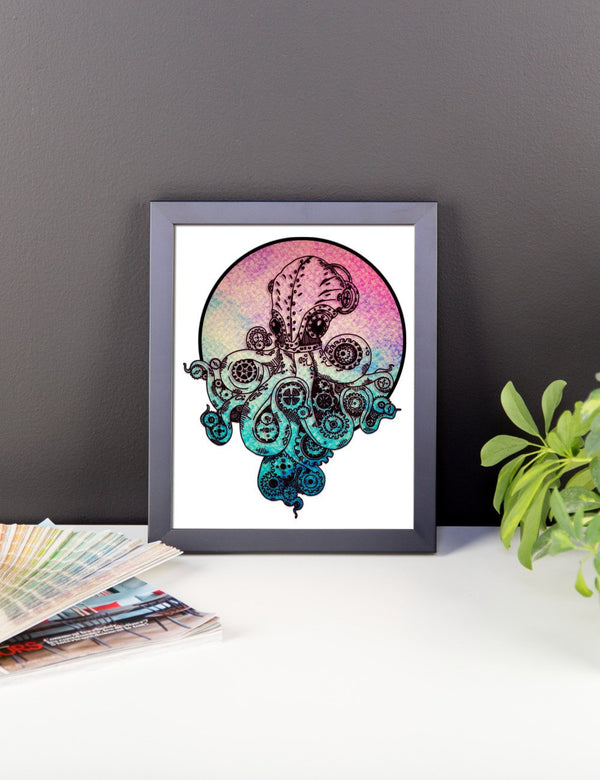 Steampunk Octopus Framed Poster | Wall Art | Witty Novelty