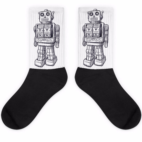 Friendly Robot Black Foot Socks | Socks | Witty Novelty
