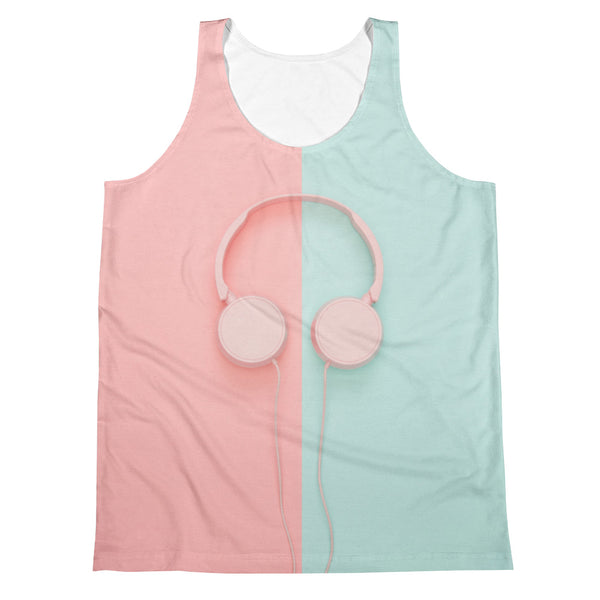 Pastel Headphones All Over Sublimation Unisex Tank Top |  | Witty Novelty