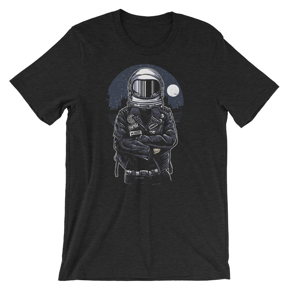 Rebel Astronaut with Leather Jacket Short-Sleeve Unisex T-Shirt |  | Witty Novelty