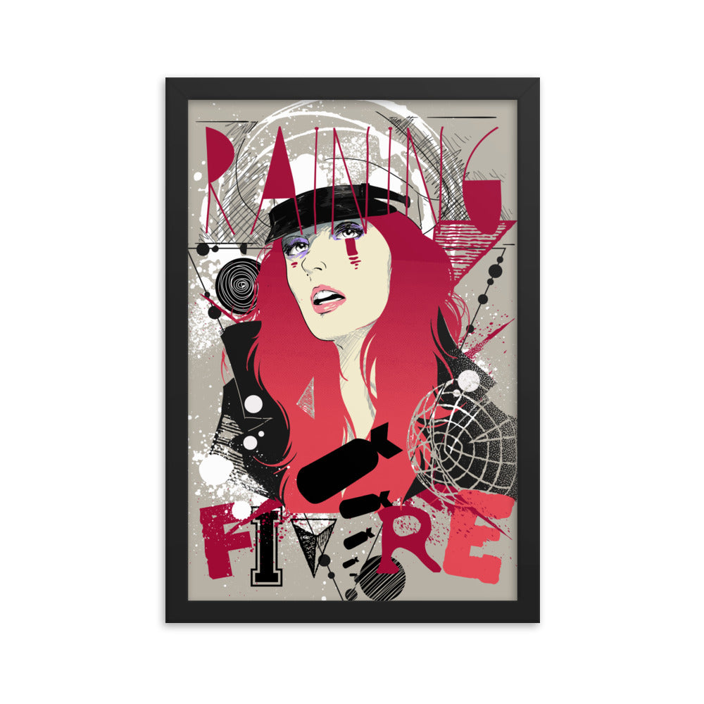 Raining Fire Framed Poster