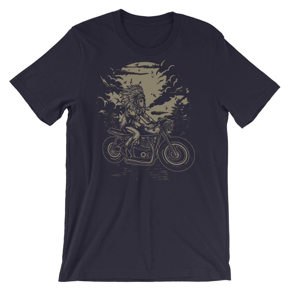 Indian Chief on a Motorcycle #2 Short-Sleeve Unisex T-Shirt |  | Witty Novelty