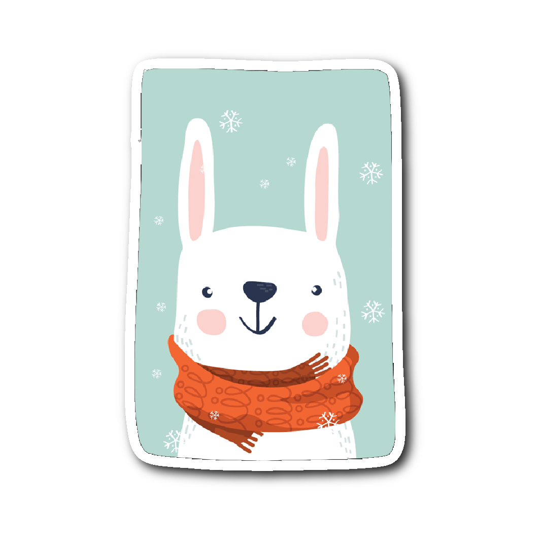 Adorable Animals in Winter Clothes - Rabbit Sticker | Stickers | Witty Novelty