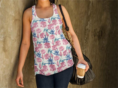 Oriental Flowers Women's Tank Top | Shirts | Witty Novelty