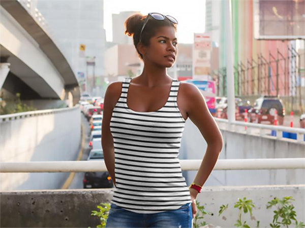 Black Striped Women's Tank Top | Shirts | Witty Novelty