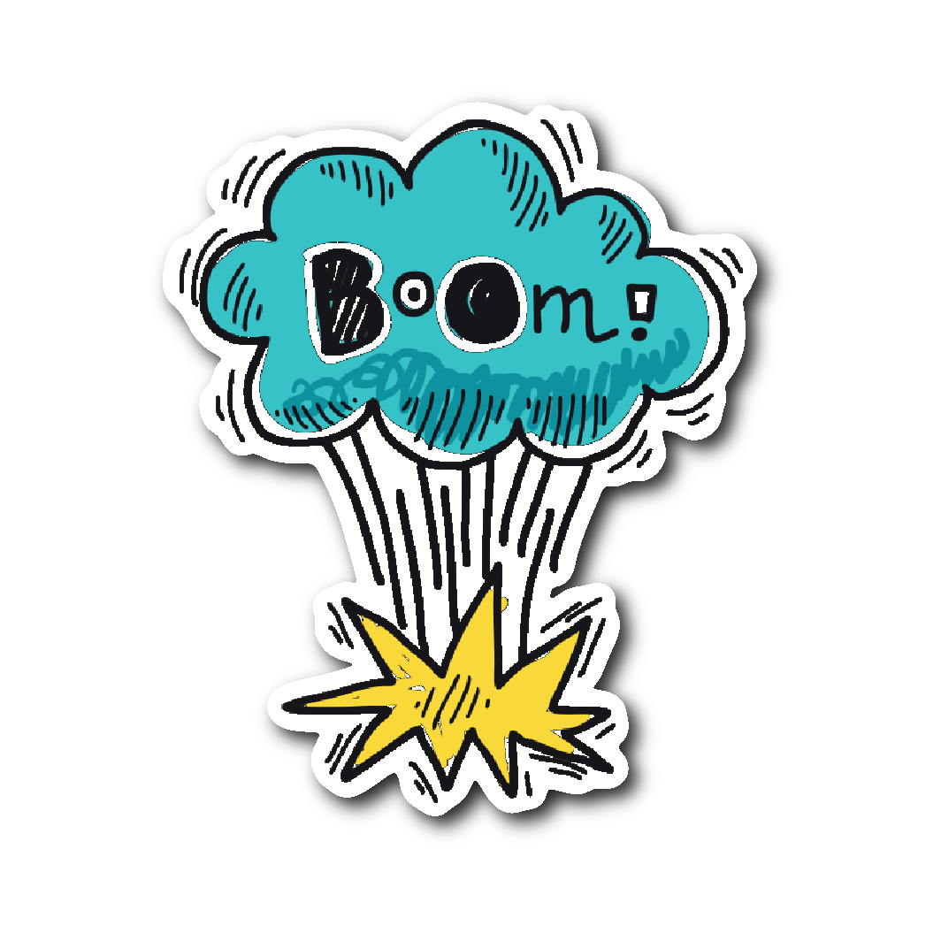 Hand drawn comic book speech balloon stickers boom stickers witty novelty